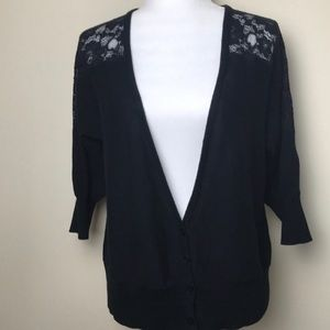 Mossimo Supply Co. Lace Panel Vneck Cardigan